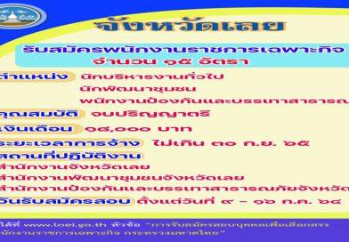 ประกาศรับสมัครพนักงานราชการเฉพาะกิจ กระทรวงมหาดไทย จังหวัดเลย ตำแหน่งนักบริหารงานทั่วไป, นักพัฒนาชุมชน, และพนักงานป้องกันและบรรเทาสาธารณภัย จำนวน 15 อัตรา รายละเอียดตามลิ้งค์